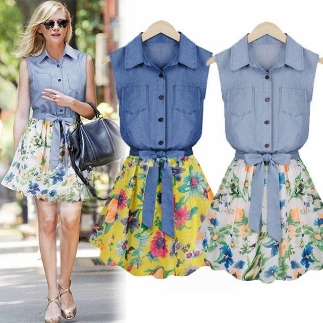COWGIRL STYLE DRESS Sleeveless Denim & Floral Chiffon Belted Western Dress