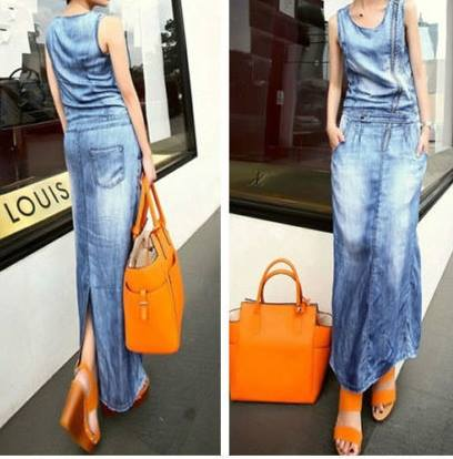 COWGIRL CHIC DRESS Sleeveless Long Denim Western Maxi Dress