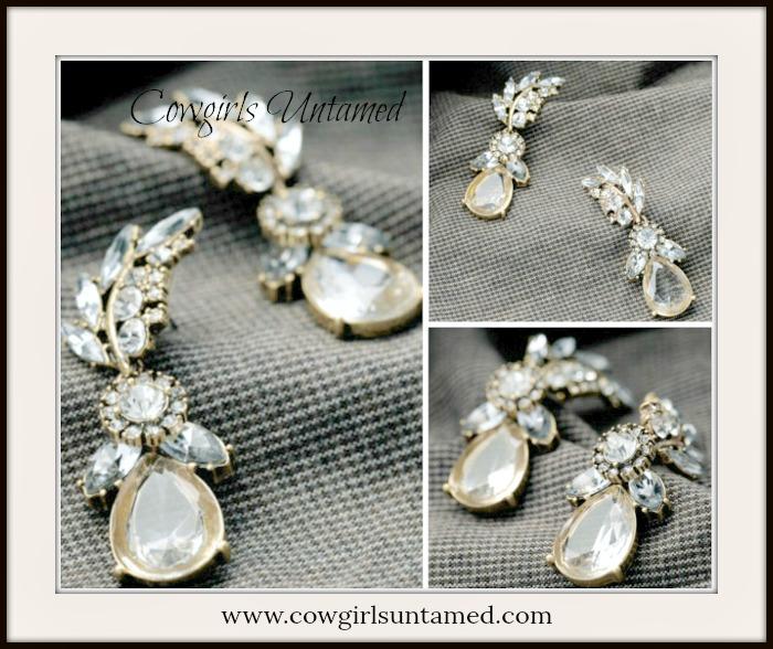 COWGIRL GLAM EARRINGS Clear Rhinestone Leaf Water Drop Earrings