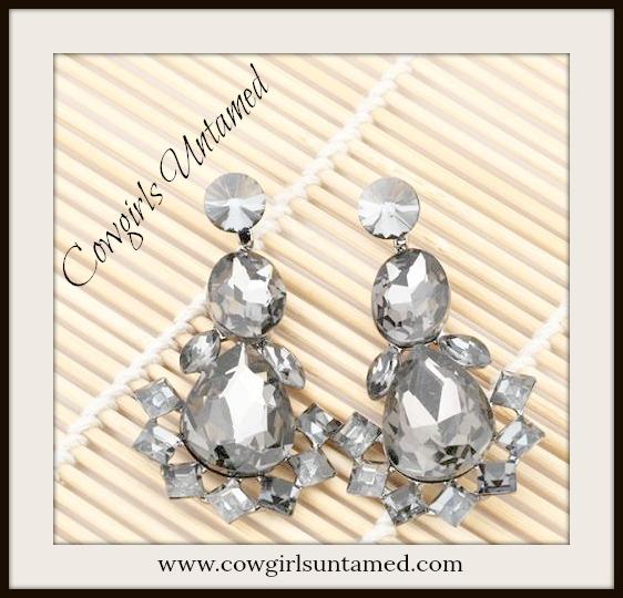 COWGIRL GLAM EARRINGS Grey Stone & Black Crystal Dangling Earrings