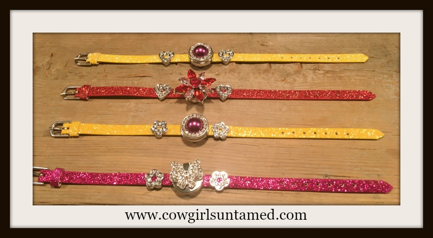 "COWGIRL GLAM BRACELET Rhinestone Charms on Glitter Leather ""SNAP"" Bracelets"