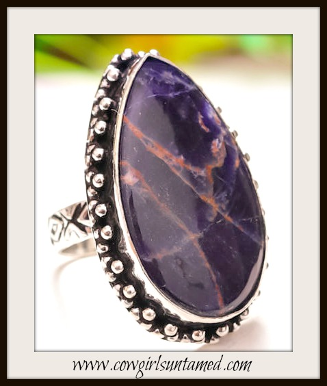 COWGIRL GYPSY RING Deep Navy Blue Sodalite Gemstone Sterling Silver Boho Chic Ring
