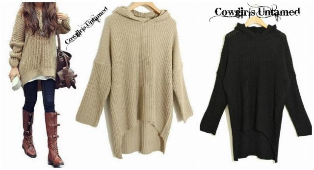 COWGIRL STYLE Soft Comfy Knit Oversized Hi Lo Hemline Black Hooded ...