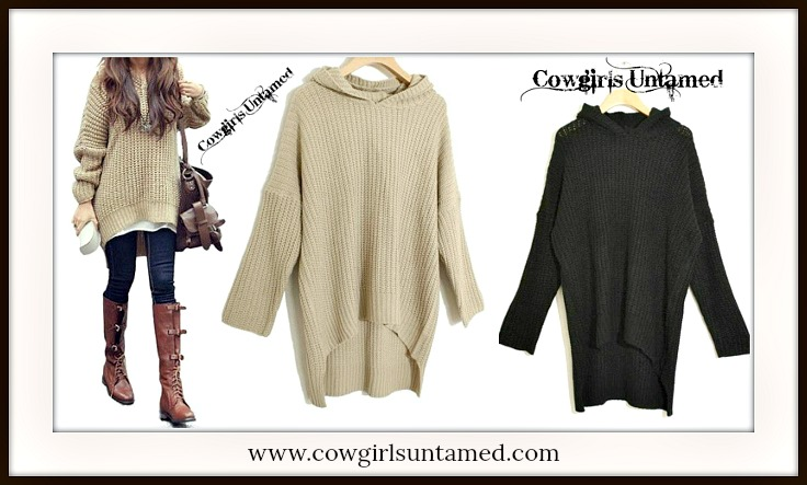 COWGIRL STYLE SWEATER Soft Comfy Knit Oversized Hi Lo Hemline Black Hooded Western Sweater