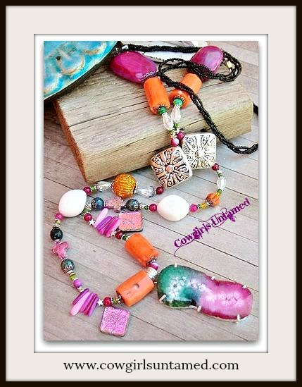 COWGIRL GYPSY NECKLACE Solar Quartz Gemstone Sterling Silver LARGE Pendant on Silver LONG Necklace
