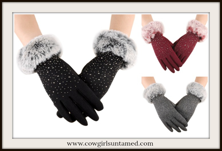 COWGIRL GLAM GLOVES Silver & Crystal Studded Sparkle Soft Fur Gloves