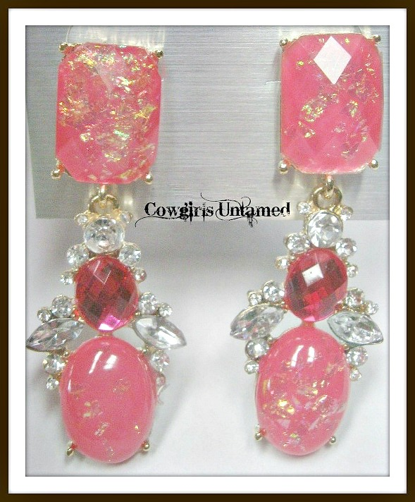 COWGIRL GLAM EARRINGS Gold Speckled Pink with Hot Pink and Clear Rhinestone Dangle Earrings