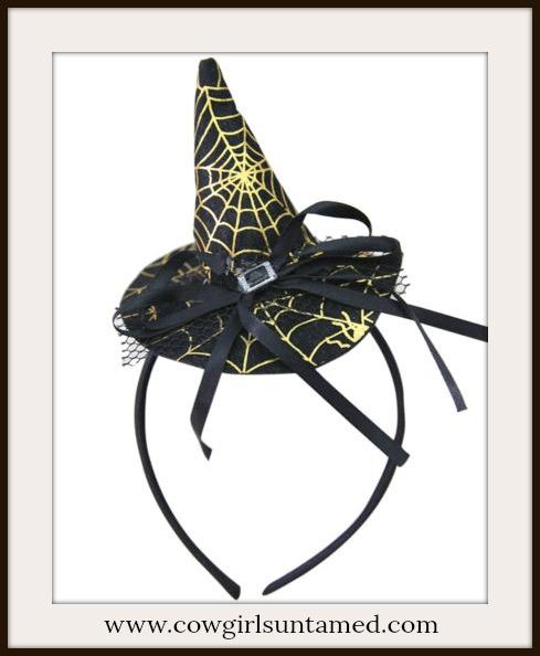 WITCH HAT HEADBAND Soft Stuffed Witch Hat Rhinestone Silver Buckle Headband