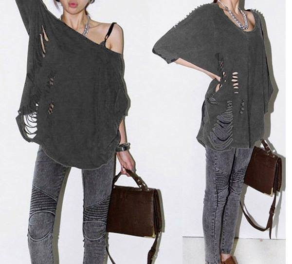 COWGIRLS ROCK TOP Grey Spiked Sleeve and Distressed Style Oversized Loose Fit Western Top