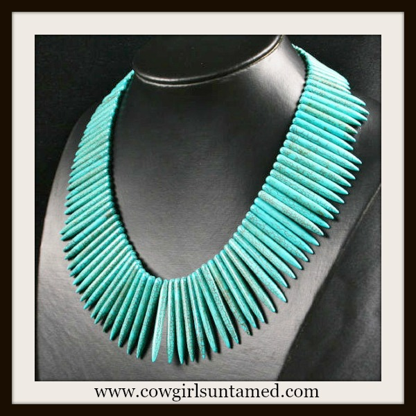 WESTERN COWGIRL NECKLACE Turquoise Spike Cowgirl Necklace