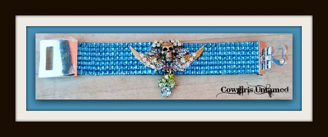 COWGIRLS ROCK BRACELET Green and Blue rhinestone Bronze Skull on Bright Blue Crystal Silver Buckle Cuff Bracelet