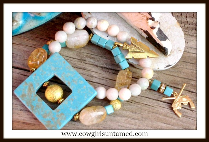 RANCH QUEEN COWGIRL BRACELET SET Turquoise with Gold Citrine Gemstone Charm Tree Turquoise Gold Sixshooter Bracelet Set
