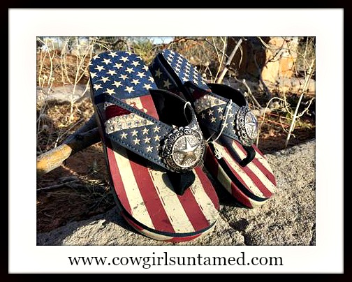 AMERICA FIRST SANDALS Red White & Blue Stars and Stripes Rhinestone Star Concho Flip Flops