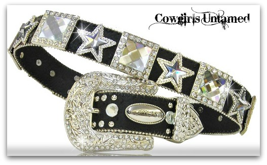 ATLAS BELT Crystal Square and Star Rhinestone Silver Black Leather Western Belt