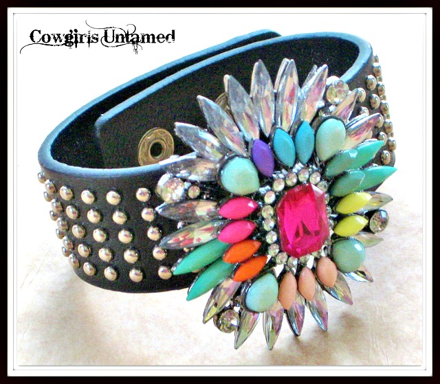 COWGIRL GLAM CUFF Silver Studded Faux Leather with Multi Color Rhinestone Starbust Accent Bracelet
