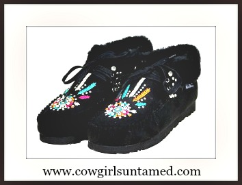 COWGIRLS ROCK MOCCASINS Fur Lined Rhinestone Studded Embroidered Black Moccasins