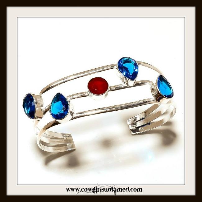 COWGIRL GYPSY BRACELET  Blue & Garnet Topaz N Sterling Silver Bracelet