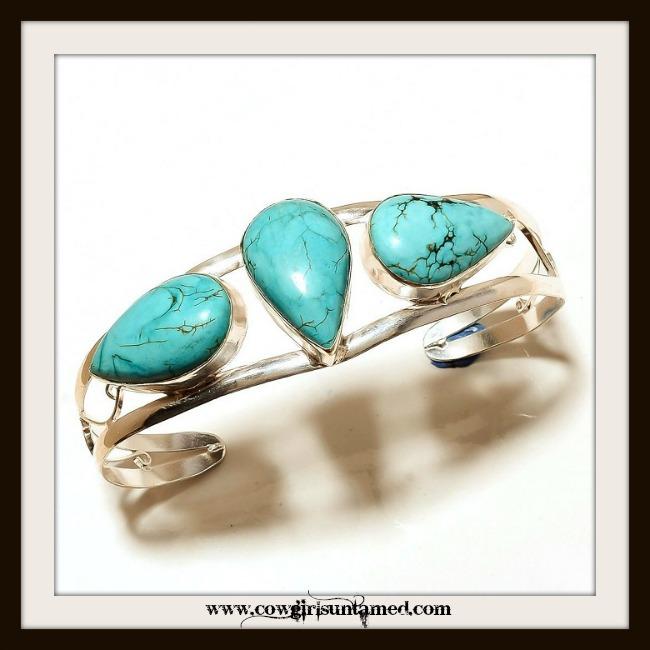 COWGIRL GYPSY BRACELET Turquoise N Sterling Silver Bracelet