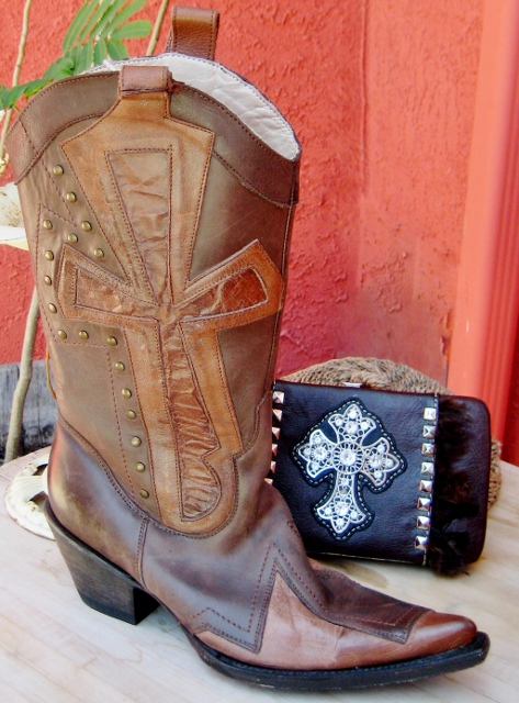 COWGIRL STYLE BOOTS Large Cross Overlay Brown GENUINE Leather Western Boots