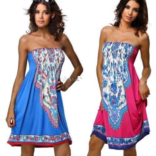 COWGIRL GYPSY DRESS Strapless A-Line Boho Floral Print Smocked Elastic Back Western Mini Dress