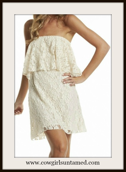 COWGIRL GLAM DRESS White Strapless Stretchy Lace Western Mini Dress Tunic Top