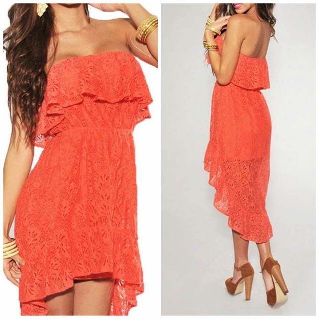 COWGIRL GYPSY DRESS Coral Strapless Off The Shoulder Ruffle Hi Lo Hemline Western Dress