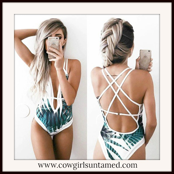 SUNDANCE COWGIRL SWIMSUIT Tropical  Deep V Strappy Back Bathing Suit