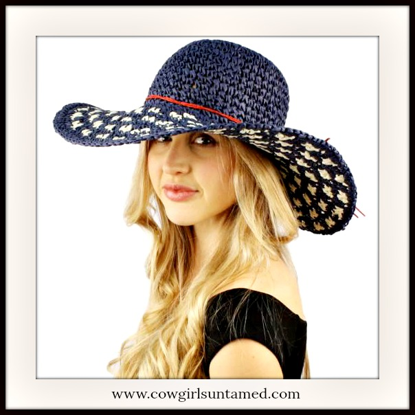 BOHEMIAN COWGIRL HAT White and Blue Straw Wide Brim Summer Boho Hat