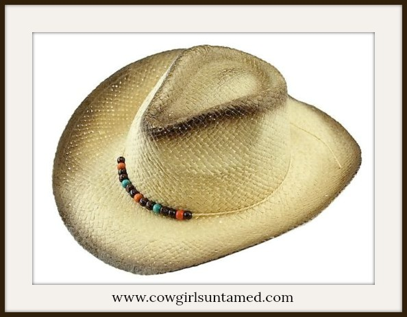 COWGIRL STYLE HAT Burnished Edge Beaded Band with Tie Tan Straw Western Hat