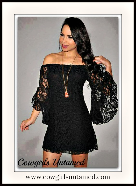 Cowgirl Gypsy Dress Black Stretchy Lace Off The Shoulder