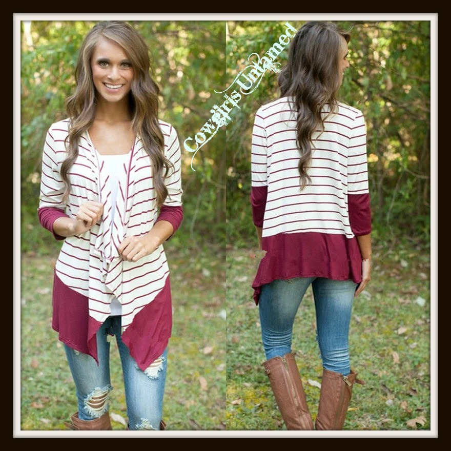 COWGIRL STYLE CARDIGAN White and Wine Striped Knit Long Sleeve Hi Low Hemline Western Cardigan