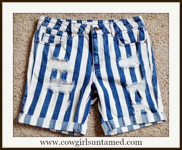 COUNTRY COWGIRL SHORTS Blue Striped Distressed Jean Shorts