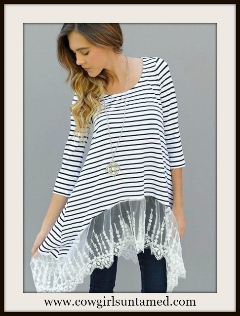 COWGIRL GYPSY TOP Black and White Striped Lace Trim 3/4 Sleeve Tunic Top