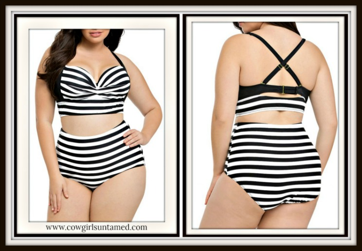 COWGIRL GLAM BIKINI Black and White Stripe Criss Cross Back PLUS Bikini