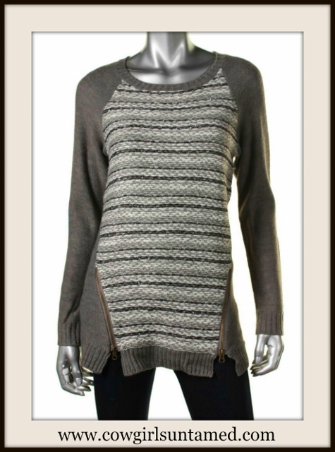 HOOKED UP SWEATER Zipper Accent on Grey Striped Designer Pullover Sweater