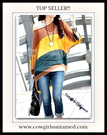COWGIRL STYLE TOP Semi Sheer Striped Short Sleeve Dolman Sleeve Oversized Top