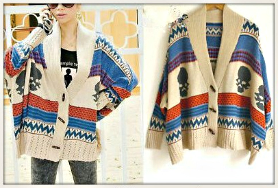 COWGIRL GYPSY SWEATER Striped with Skull Design on Blue Red Beige Oversized Western Poncho Cardigan Sweater