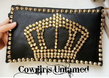 COWGIRLS ROCK PURSE Metal Studded Crown on Black Leather Clutch Handbag Wristlet