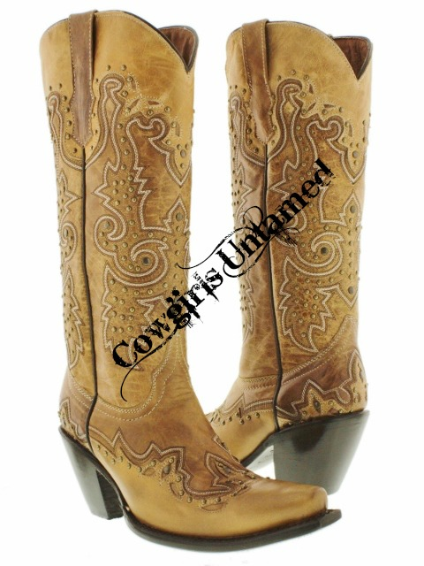 COWGIRL STYLE BOOTS Metal Studded & Embroidered Tall Light Brown GENUINE LEATHER Western Boots with Heel