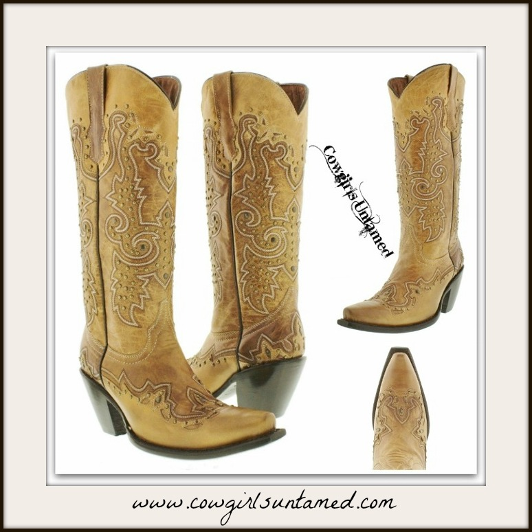 COWGIRL STYLE Metal Studded and Embroidered Tall Light Brown