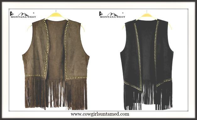 COWGIRL STYLE VEST Studded Fringe Suede Vest