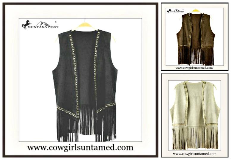 COWGIRL STYLE VEST Studded Fringe Suede Vest  BLACK or BROWN