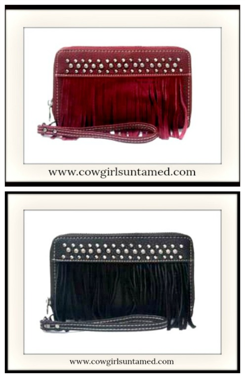 COWGIRL GYPSY WALLET Silver Studded Fringe Zip Top Leather Wallet / Clutch