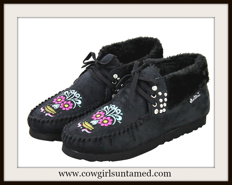 COWGIRL GYPSY MOCCASINS Multi Color Embroidered Sugar Skull Crystal Studded Moccasins