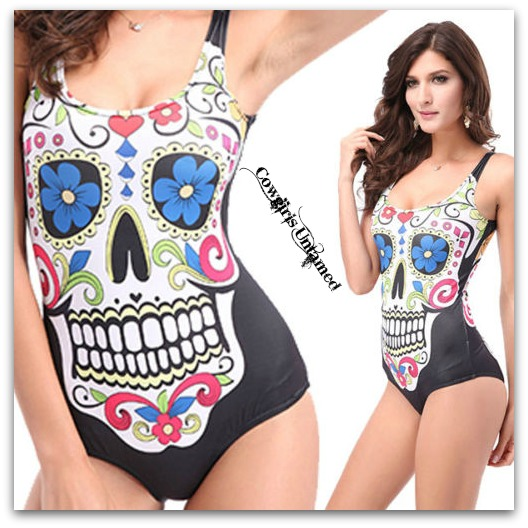 COWGIRL GYPSY SWIMSUIT Multi Color Sugar Skull 1 Piece Swimsuit / Tank Top