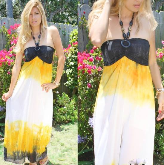 COWGIRL GYPSY DRESS  Sundrenched Yellow Black N White Chiffon Empire Waist Maxi Dress