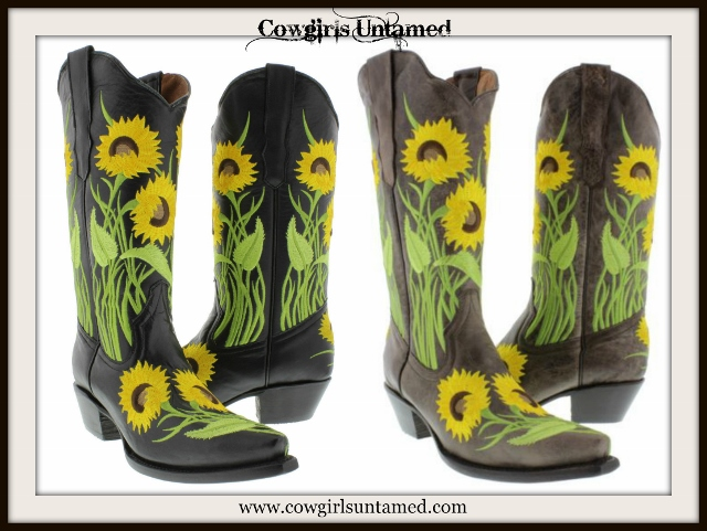COUNTRY COWGIRL STYLE BOOTS Embroidered Yellow Sunflowers Genuine Leather Cowgirl Boots