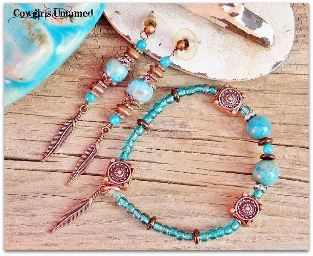 COWGIRL STYLE BRACELET SET Aqua & Teal Gemstones with Copper Feather Charm BRACELET & EARRINGS SET