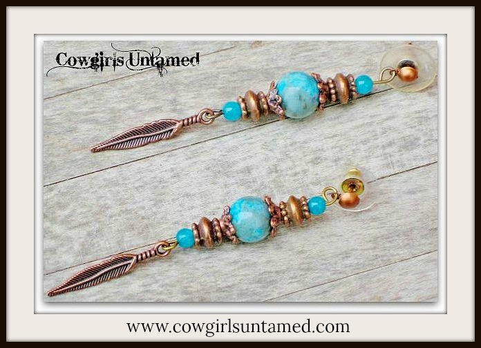 COWGIRL STYLE EARRINGS Aqua & Teal Gemstones with Copper Feather Charm Earrings  FREE BRACELET