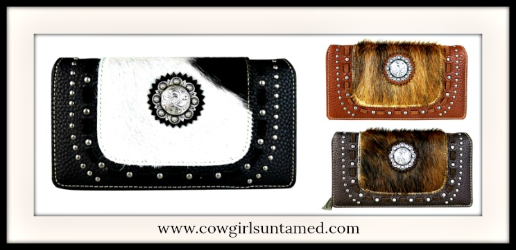 BOHEMIAN COWGIRL WALLET 3 Colors Hair-On Hide Leather Antique Silver Concho Wallet